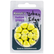 Kandi Corp Urban Edge Heart Screwback Spike, 12mm x 5.7mm, Lemon Yellow, 12-Pack