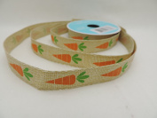 Carrots on Canvas Pattern Celebrate It 1.6cm . X 2.7m 100% Polyester Ribbon - Great for Easter!