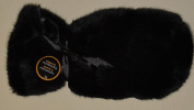 Black Faux Fur Wine Gift Bag with Ribbon Tie