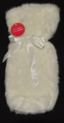 White Faux Fur Wine Gift Bag with Ribbon Tie
