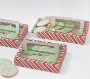 Red and White Christmas Treat Boxes w/Handles - Package of 4