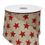 Red Stars Ribbon on Natural Faux Burlap Patriotic Ribbon - 6.4cm w x 10 yd
