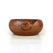 Solid Teak Wood Crafted Wooden Yarn Ball Storage Bowl With Spiral Yarn Dispenser & Decorative Rings | Knitting Crochet Accessories | Nagina International