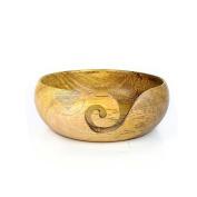 Yellow Teak Wood Crafted Handmade Premium Yarn Ball Storage Bowl With Spiral Cut | Nagina International