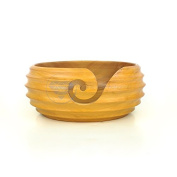 Yellow Hardwood Crafted Exclusive Knitting Yarn Storage Ball With Butter Scoop Troughs | Nagina International