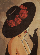 """Needlepoint Kit """"Lady with hat"""" 9.8""""x13.8"""" 25x35cm printed canvas cod.607"""