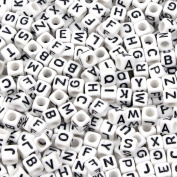 Goodlucky 800 Pcs Acrylic Letter Beads White Alphabet Beads with Black Letters for DIY Bracelets, Necklaces, Children's Educational Toys, Handmade Gift