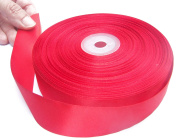 Red Satin Ribbon. High End Double Face Spool. 2.5cm 50 Yards Roll by Drency Ribbons