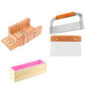 6MILES 2 Pcs Stainless Steel Soap Cutter+ 1 Pcs Straight Soap Cake Making Mould Loaf Garnish Cake Cutter with Line Wire Home Tool Graters Peelers Slicers Knife Set+ 1 Pcs Wood Box+1 Pcs Silicone Mould