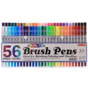 Shuttle Art 56 Colours Dual Brush Pens Art Markers,Brush Tip with Fineliner Tip 0.4mm Markers Brush Pen Set For Adult Colouring books