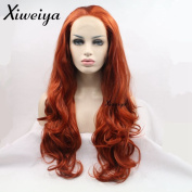 Xiweiya Long Body Wave Hair Wig Orange Red Synthetic Lace Front Wigs Glueless Auburn Curly Wig Heat Resistant Hair For Women