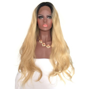 YongerBeauty Fashion Long Synthetic Lace Front Wig Heat Resistant Ombre Blonde and Black Root Fibre Hair for Black Women 1B/27#