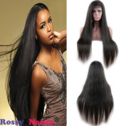Rossy & Nancy 100% Unprocessed Brazilian Virgin Remy Human Hair Full Lace Wig Silk Straight for African Americans 130% High Density Natural Colour for Black Women