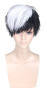OYSRONG New Anime11.210cm Handsome Black Mixed White Short Straight Soft Touch Cosplay Lace Cap Wig For Men