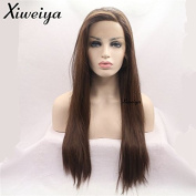 Xiweiya Middle Brown Long Silk Straight Synthetic Lace Front Wigs Side Part Heat Resistant Hair Glueless Lace Wig For Women Half Hand Tied Replacement Wig