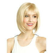 Aoert Blonde Short Wigs for Women Straight Heat Resistant Wig with Bang 30cm