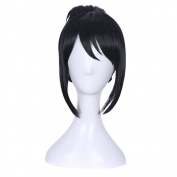 Yesui Cosplay Wigs Long Up-do Party Wig with Bangs Natural Black Synthetic Heat Resistant Hairs for Women