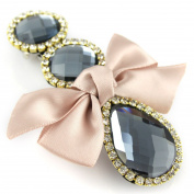 Braided Soft Leather Hair Barrette - Crystal Cut Jewel Silky Satin Bow - Hair Clip - Pink Pearl & Grey Musk
