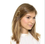 Leiothrix Elegant Golden Alloy Four Leaf Clovers Hair Clip for Women and Girls on any Occasion