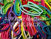 Ponytail Elastics, Bulk Pack of 210pc, 4mm