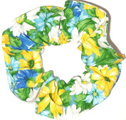 Floral Hair Scrunchie Blue and Yellow Daisies Flowers Handmade by Scrunchies by Sherry Ponytail