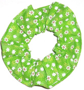 Floral Hair Scrunchie Tiny Green Daisies Flowers Handmade by Scrunchies by Sherry Ponytail