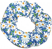 Floral Hair Scrunchie Blue Daisies Flowers Handmade by Scrunchies by Sherry Ponytail