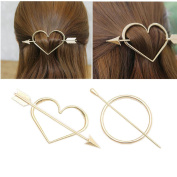 Joyci 2 Pcs Women Metal Heart Round Ponytail Hair Clip Hair Fork Stick Pins