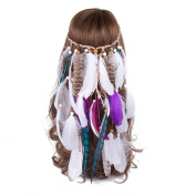 AWAYTR White Feather Native American Headwear Lady Hippie Boho Headbands Hair Accessories