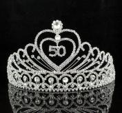 Janefashions 50-Year-Old Birthday Party Austrian Rhineston Tiara Crown Hair Combs T803 Silver