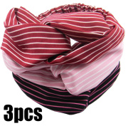 QY 3PCS Women Elastic Turban Head Wrap Headband Twisted Hair Band Stretchy Athletic Headbands Yoga Headband Black Pink and Wine Red