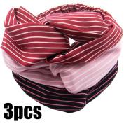 QY 3PCS Women Elastic Turban Head Wrap Headband Twisted Hair Band Stretchy Athletic Headbands Yoga Headband Black Pink and Wine Red
