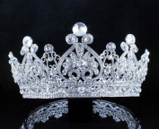 Janefashions Vintage Full Crown Clear Austrian Crystal Rhinestone Tiara Pageant Prom T12159 Silver