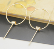 Leiothrix Minimalist Golden Circle Earrings for Women and Girls Apply to Party and Casual