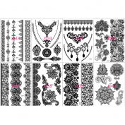 Miss Flora Non-toxi Black Henna Bracelets Laces Patterns Tattoos Women Tattoos Hands, Necks, Shoulder Body Paints Girl Stickers- Teen Makeup Kit, Skin Art