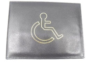BLACK REAL LEATHER DISABLED BADGE HOLDER WALLET DISABILITY PARKING COVER 1449