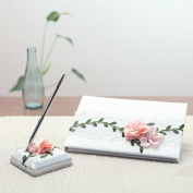 KateMelon Lace and Silk Flower Wedding Guest Book and Pen Set