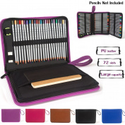 Corasays 72 Holder 3 Layer PU Leather Coloured Pencil Case Gel Pen Case Large Capacity Pencil Bag with Zipper for Art Supplies