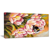 "Designart PT6020-80cm - 41cm Bee Sitting On Flower Floral"" Canvas Artwork, Pink, 80cm x 41cm"