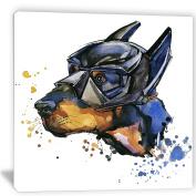 "Designart PT6055-80cm - 80cm Doberman Superman Animal"" Canvas Artwork, Blue, 80cm x 80cm"