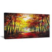 "Designart PT6021-100cm - 50cm Walk through Autumn Forest Landscape"" Canvas Artwork, Red, 100cm x 50cm"