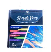 aSymmetry Exclusive Dual Tip Brush Pens, 12 Bright Colours, Odourless Water based Nontoxic Ink - A Perfect Round Brush Pen Set