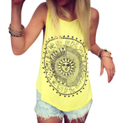 XILALU Women Sexy Sun Printed Sleeveless shirt Casual Vest Tee Tank Tops