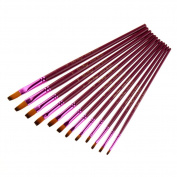 BUYITNOW Artist Flat Paint Brushes Set Long Handles for Acrylic Watercolour Painting Assorted Sizes Art Supplies 12 Pcs, Purple