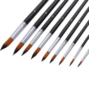 BUYITNOW 9 Pcs Detail Paint Brush Set Pointed Tip Nylon Hair for Acrylic Watercolour Oil Painting Black
