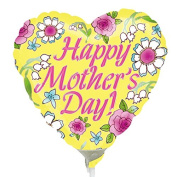 Anagram Happy Mothers Day Yellow Mini Foil Balloons on Sticks