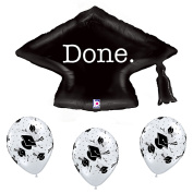 Black and White Graduation Party Grad Cap Balloon Bundle