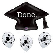 Black and White Graduation Party Grad Cap Balloon Bundle