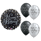 Happy Birthday Black, Gold and Silver Balloon Bundle