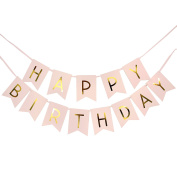 Pink Happy Birthday Banner / garland with gold foiled Letter for birthday party decoration, garland